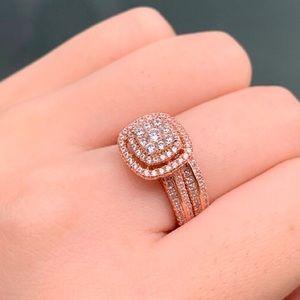 Jewelry - 2pcs rose gold engagement ring wedding band set